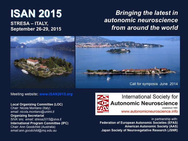 Welcome to Stresa, Italy, for ISAN 2015. Call for Symposia: June 2014